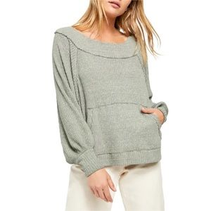 FREE PEOPLE Westend Thermal Top In Army size XS